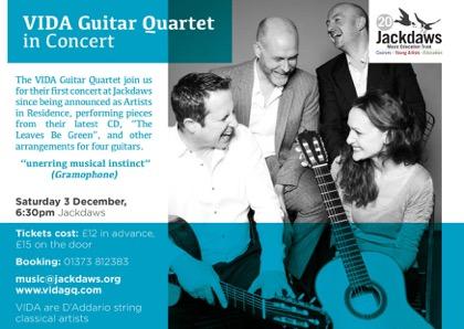 VIDA Quartet announce Fundraising Concert